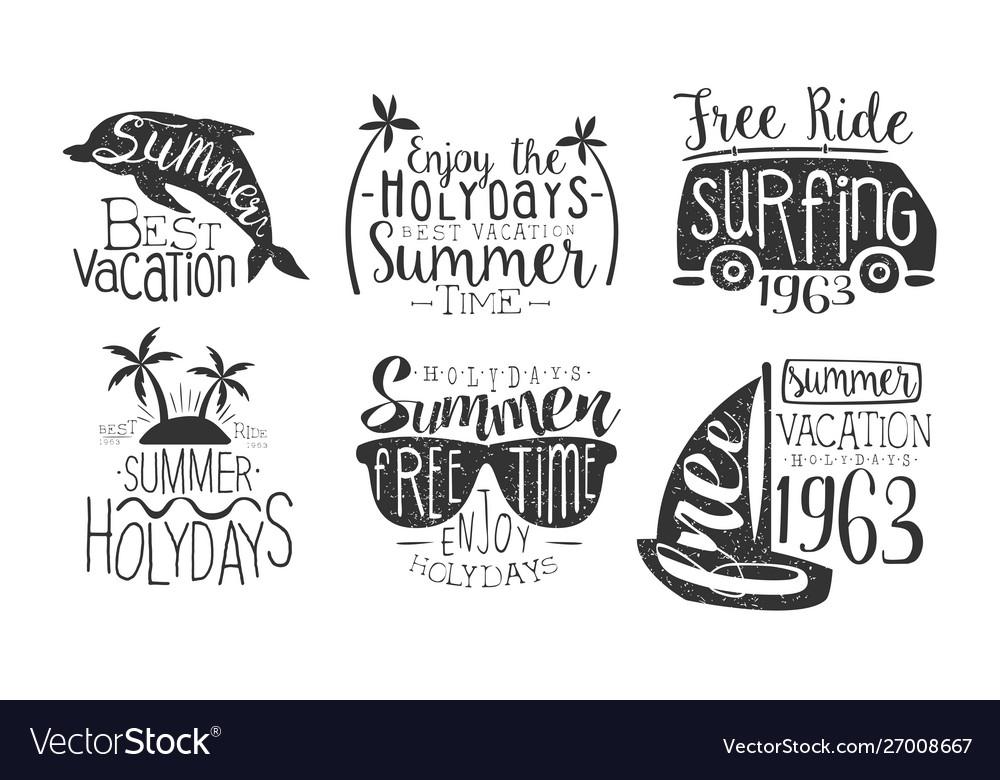 Enjoy summer holidays retro labels set best