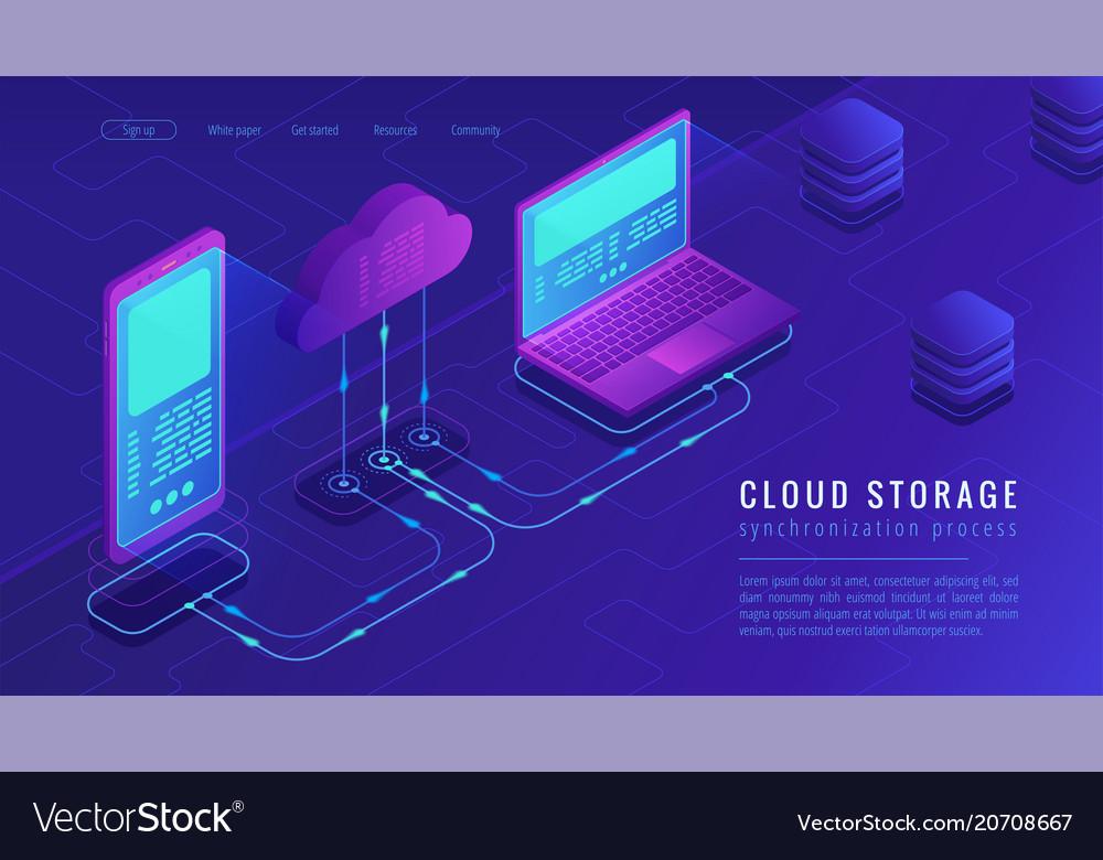 Isometric cloud storage landing page concept