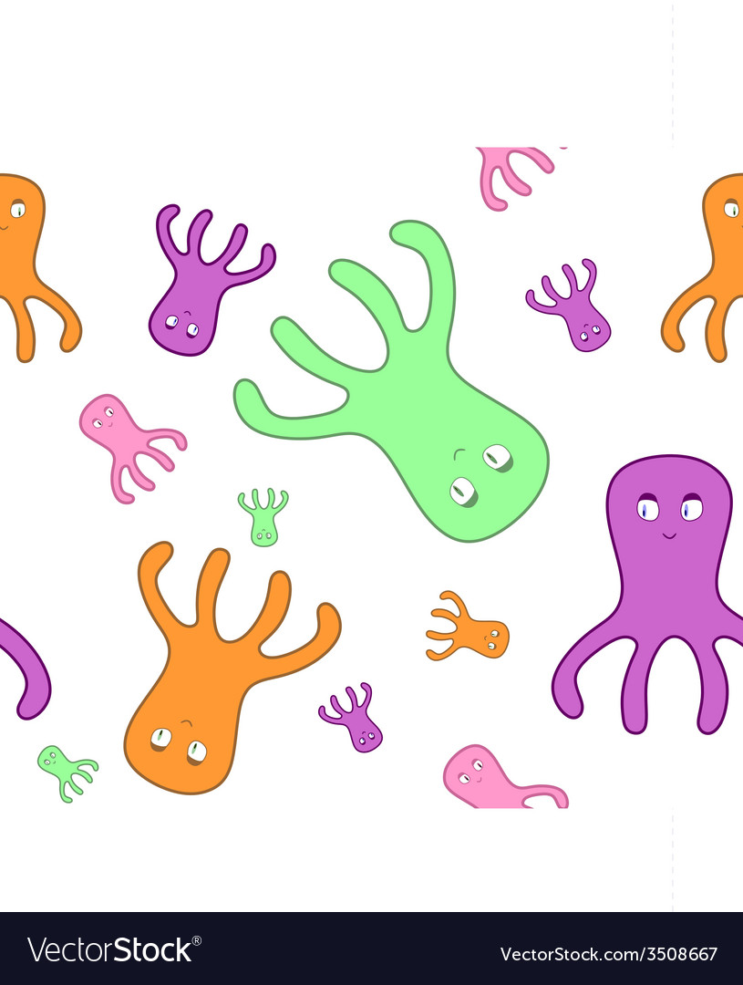 Seamless octopuses on white