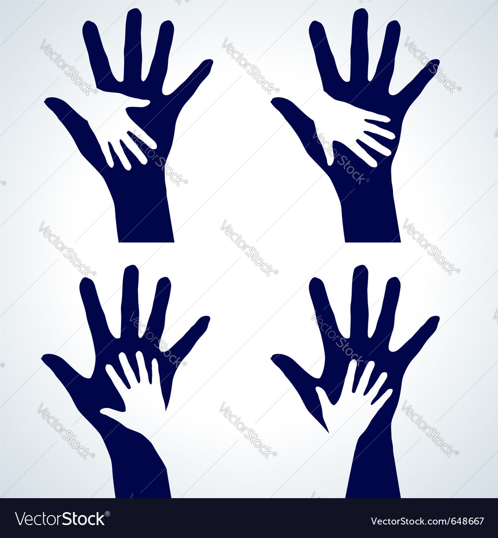 Set of hands silhouette