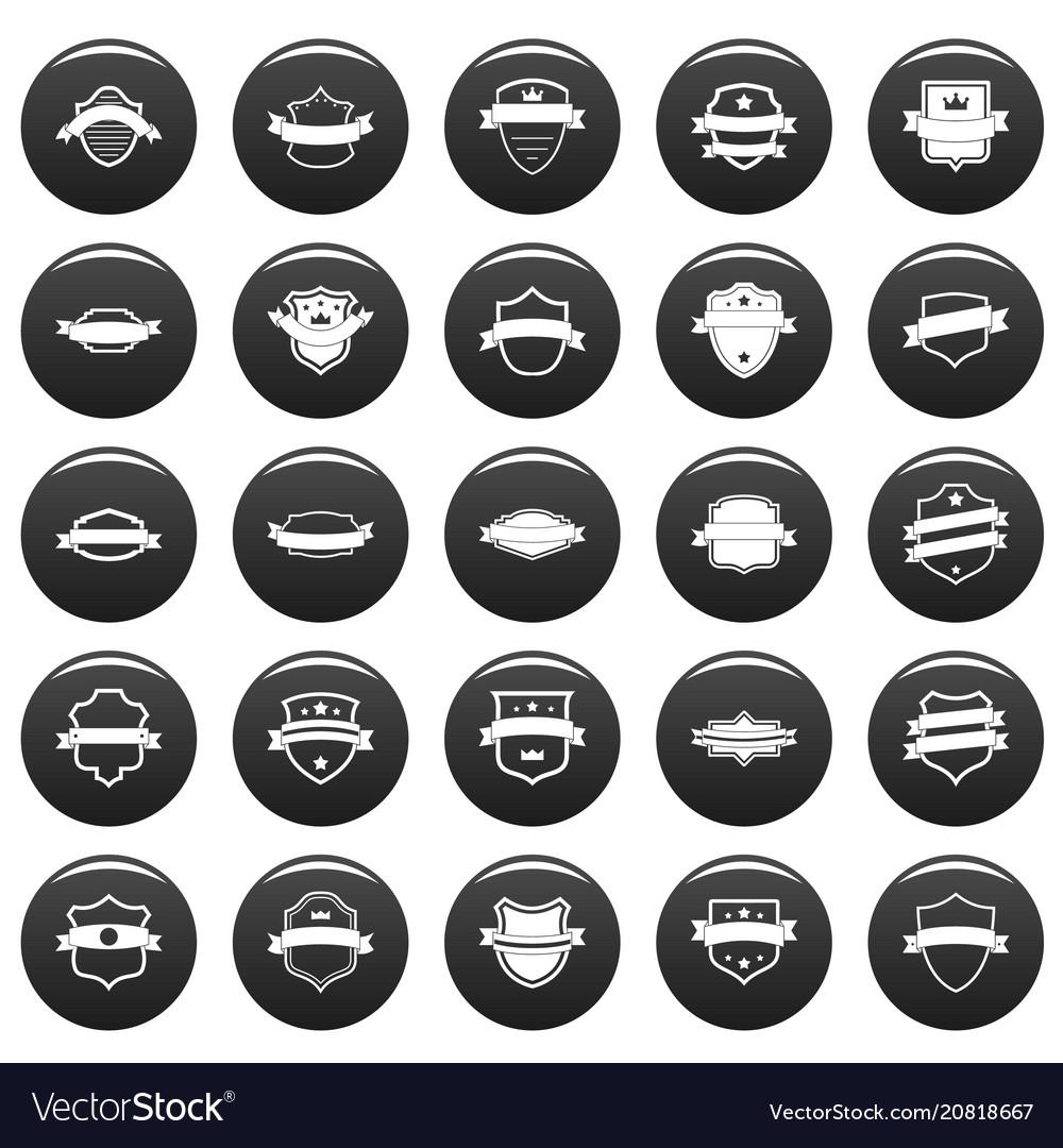 Shield badge icons set vetor black vector image