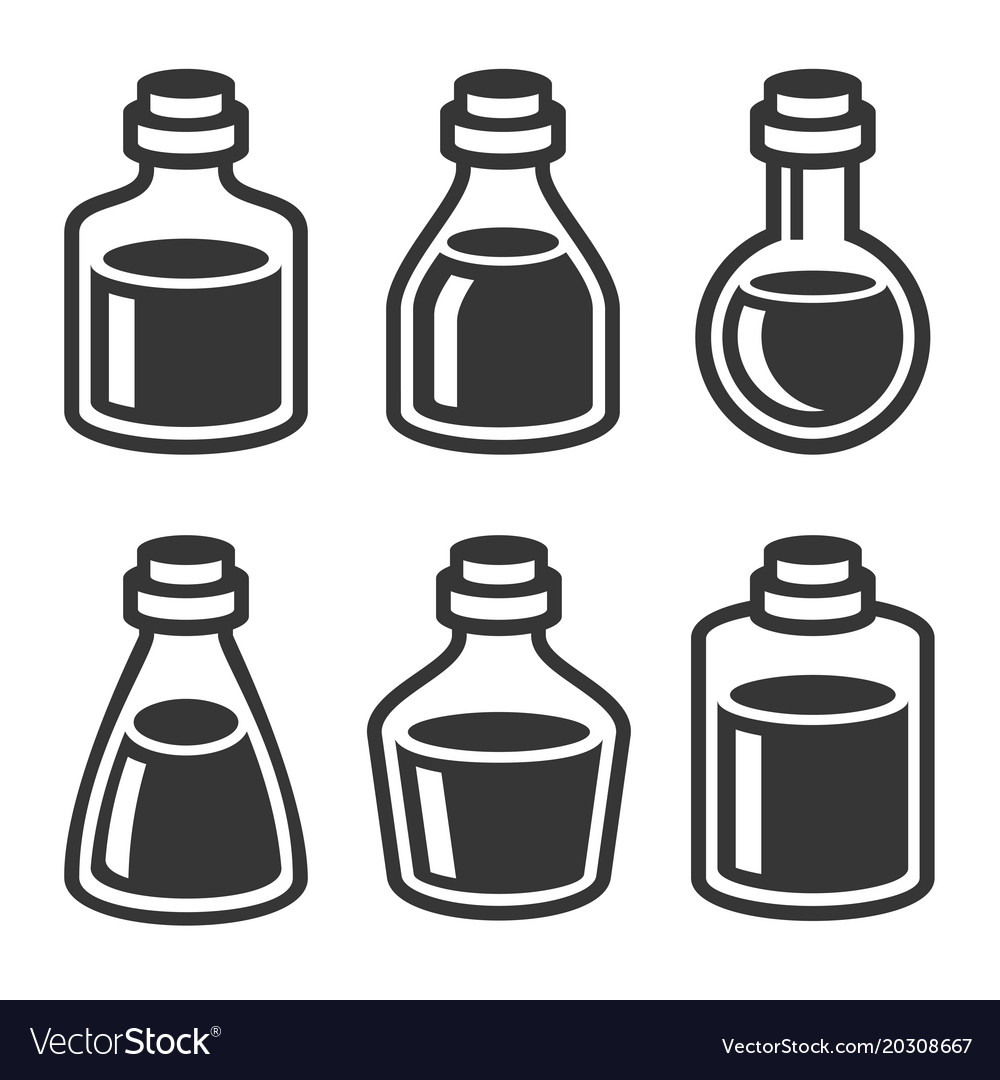 Small medical or parfume jar and bottles icons set