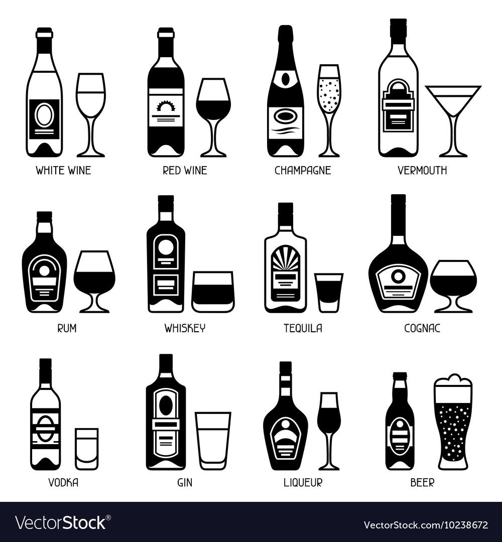 Alcohol drinks icon set Bottles glasses for