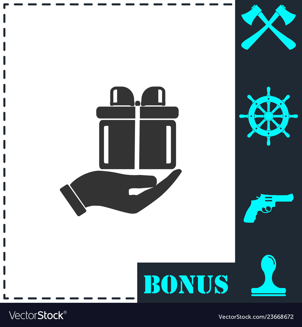 Arm of gift icon flat
