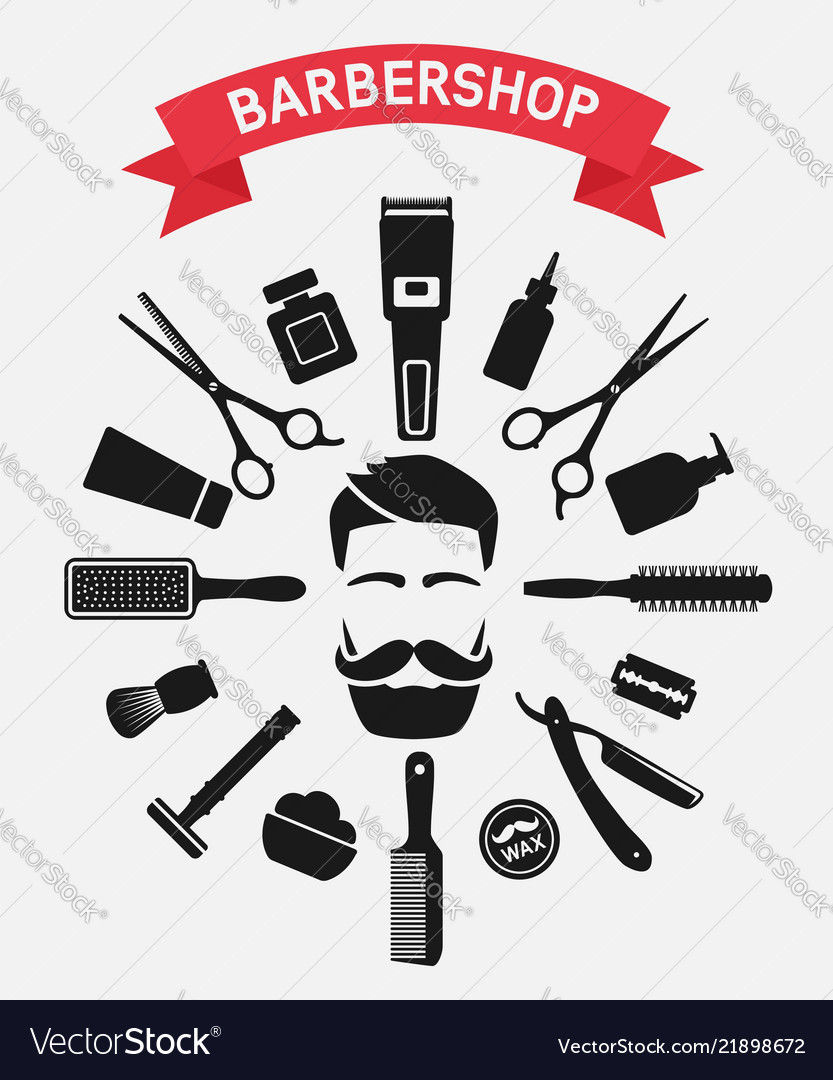 Barbershop tools around male face
