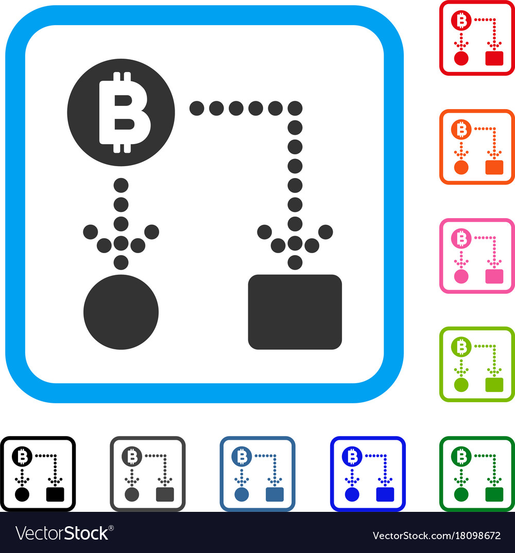 Bitcoin cashflow framed icon