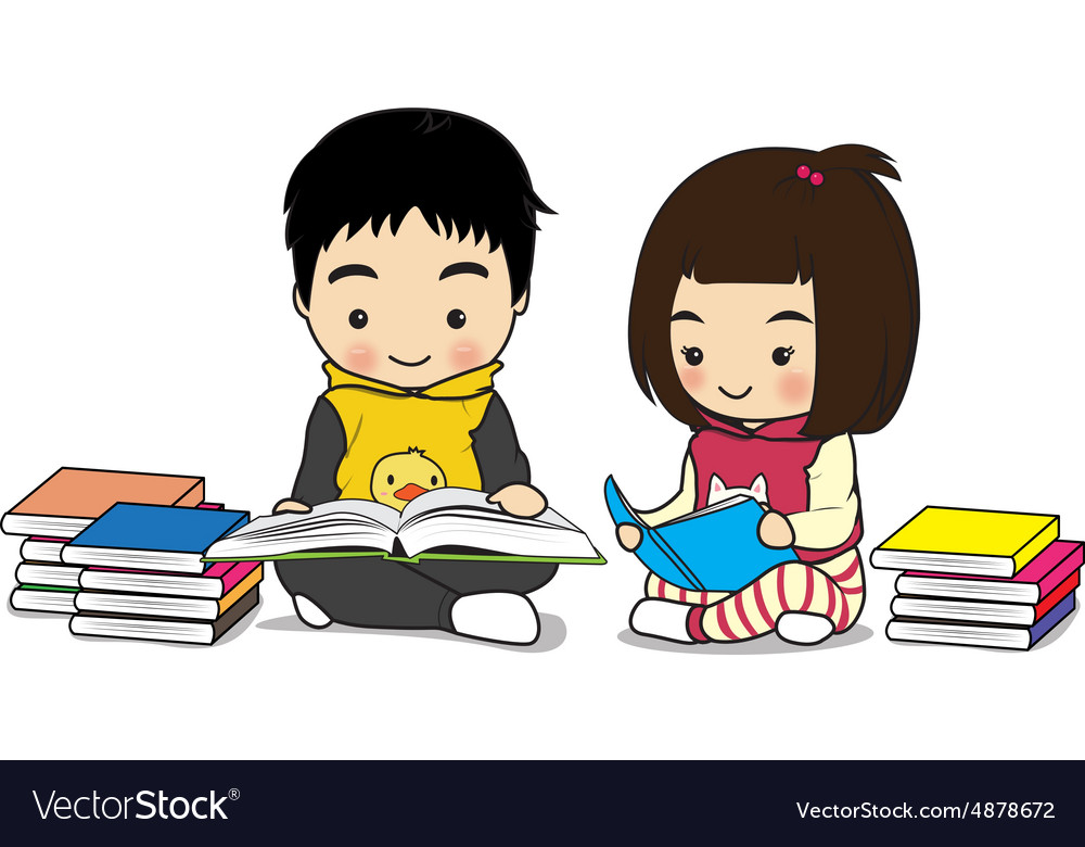 Boy and girl read a book