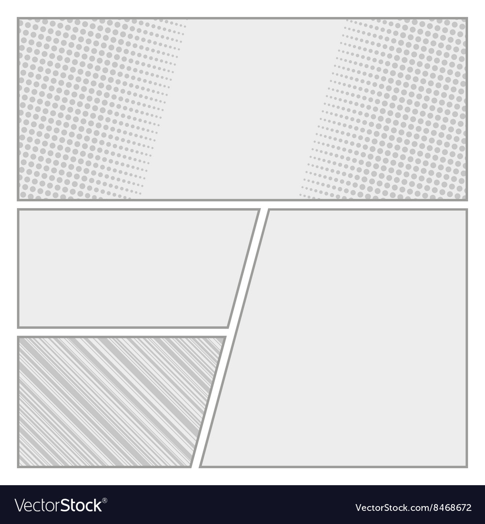 Comics pop art style blank layout template with