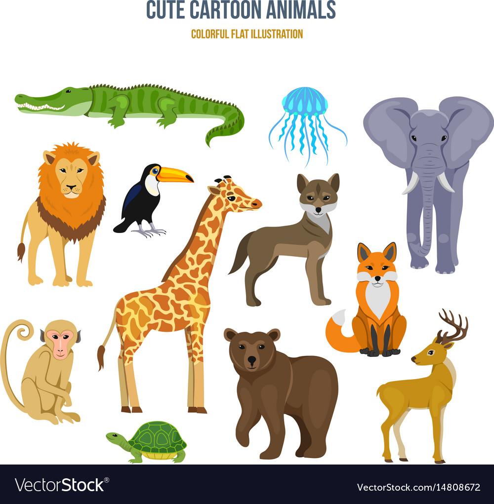 Concept of - cute set cartoon animals