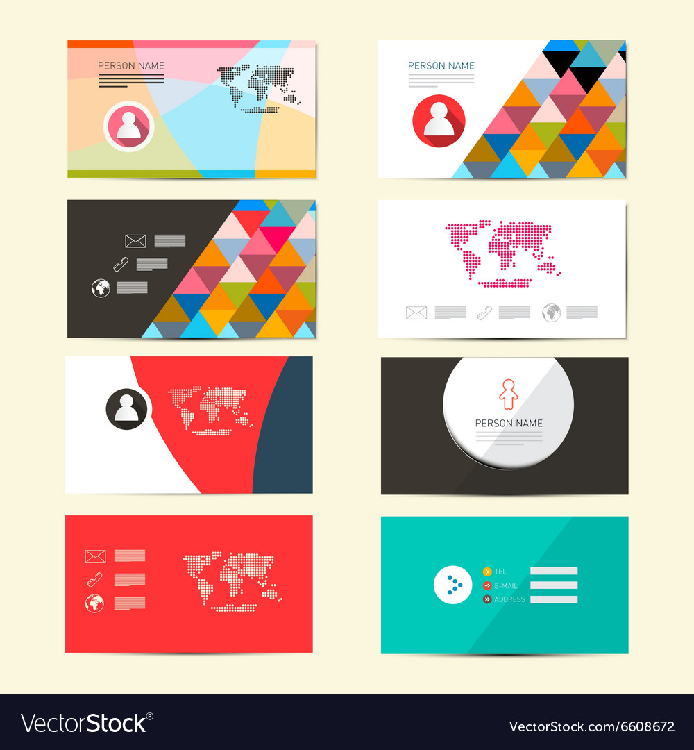 Flat Design Paper Business Card Template Layout