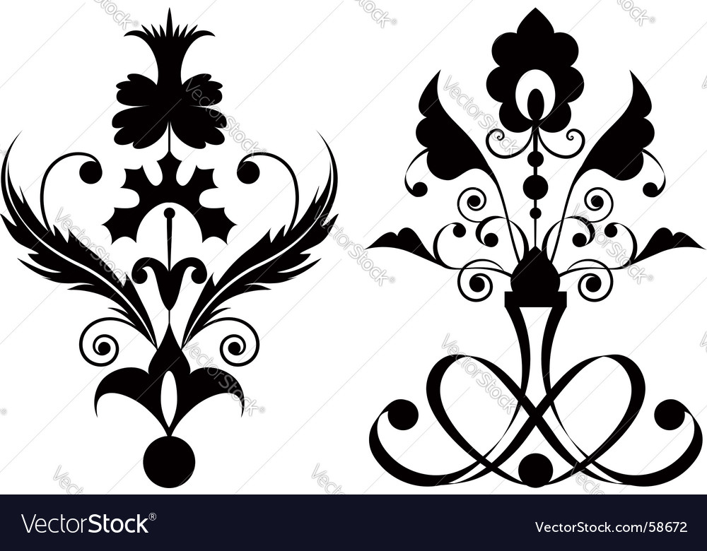 Flowers black vector