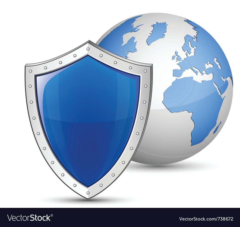 Globe and shield vector image