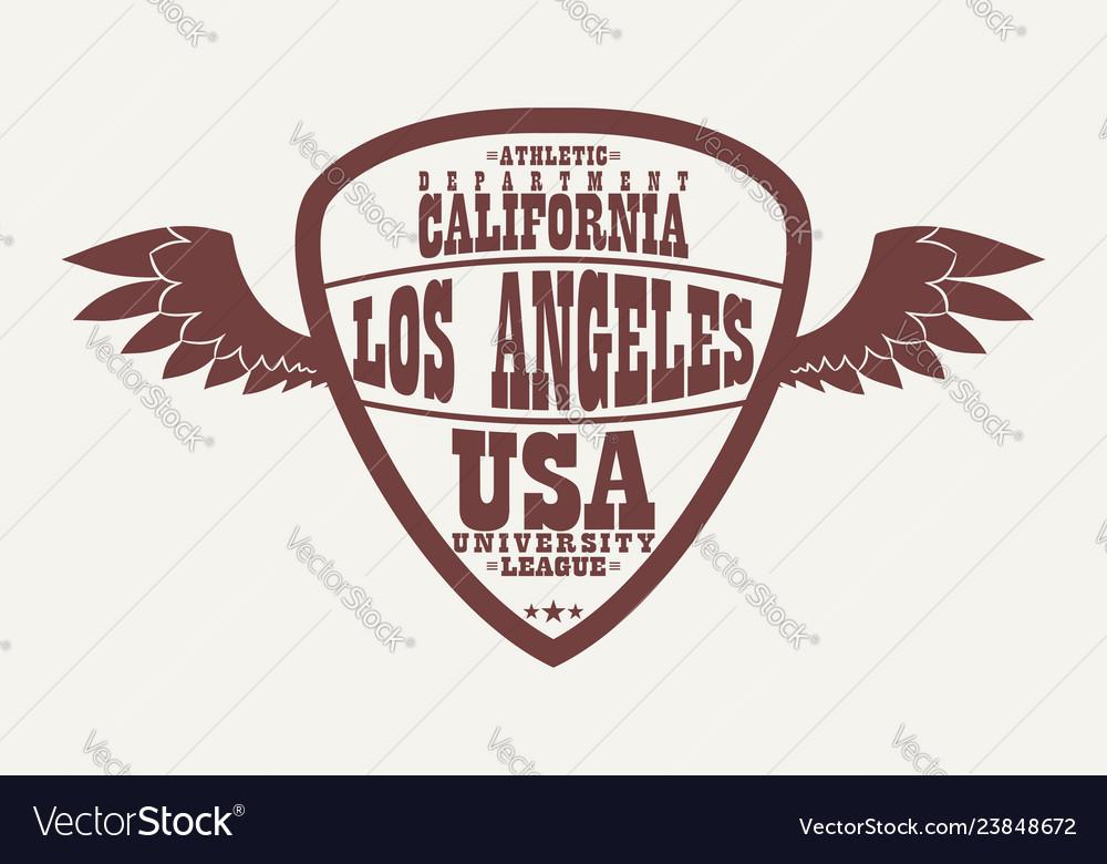 Los angeles california athletic apparel logo with