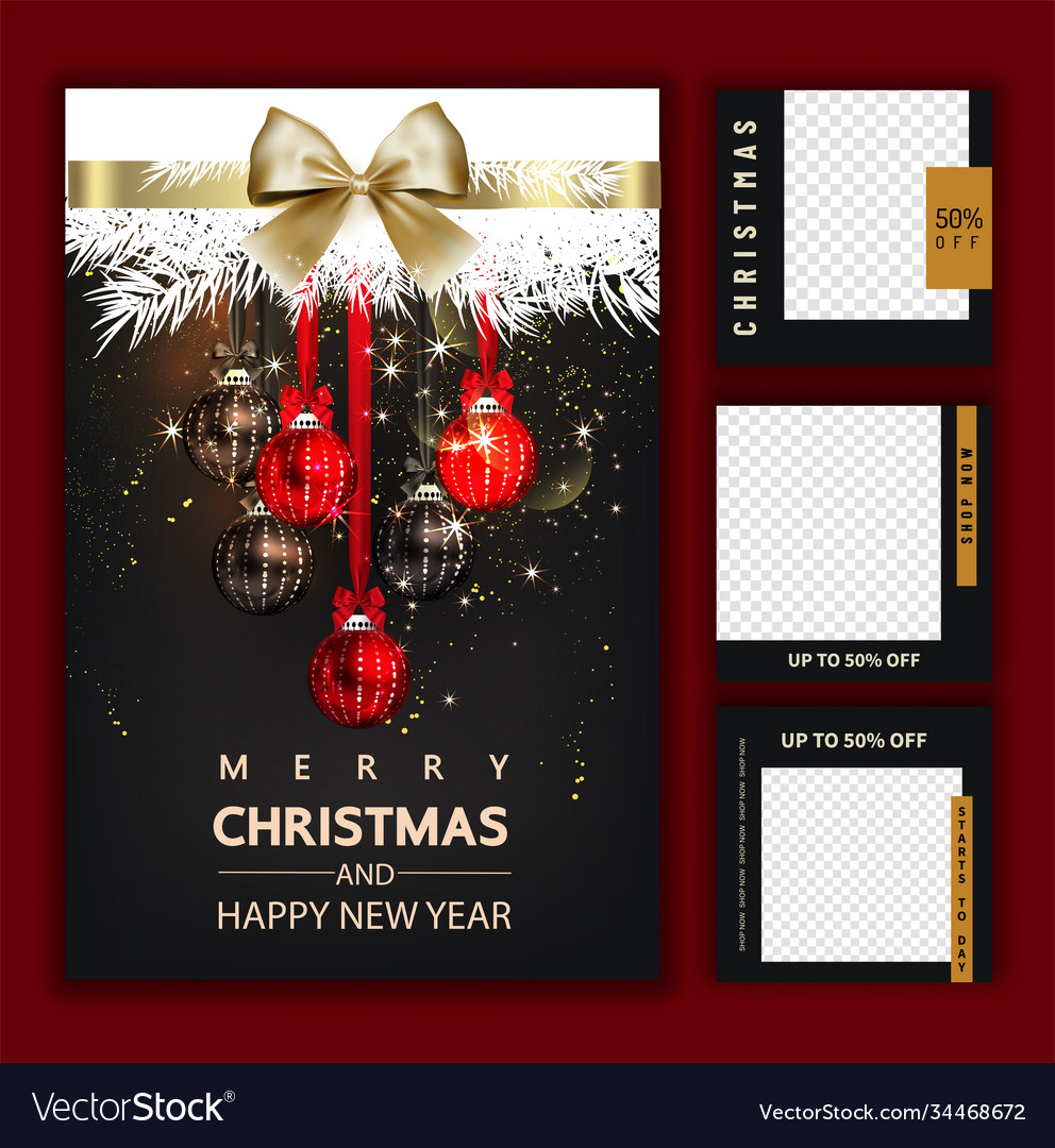 Luxury christmas social media golden and black vector