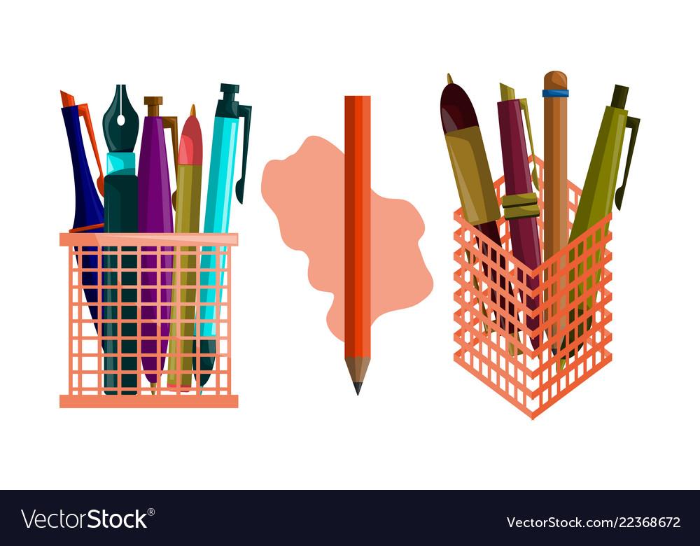Pencil pen design template set
