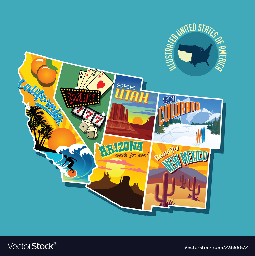 Pictorial map of united states