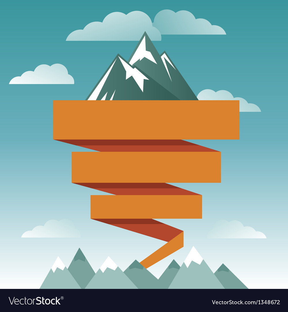 Retro design template with mountain icon