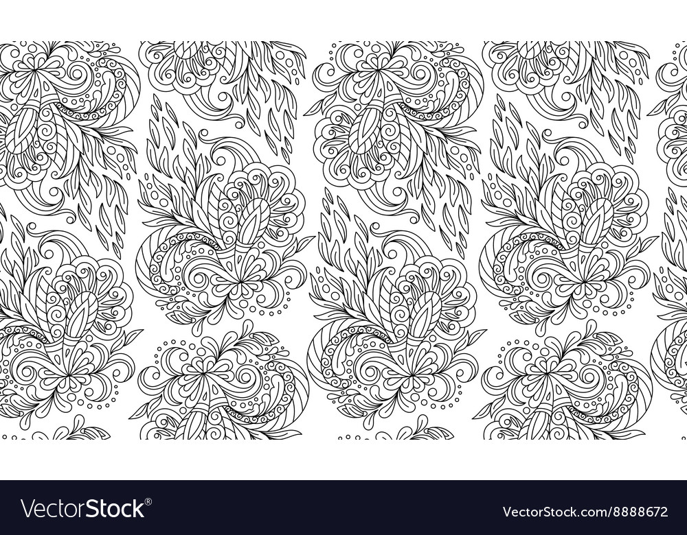 Seamless doodle flower background in with