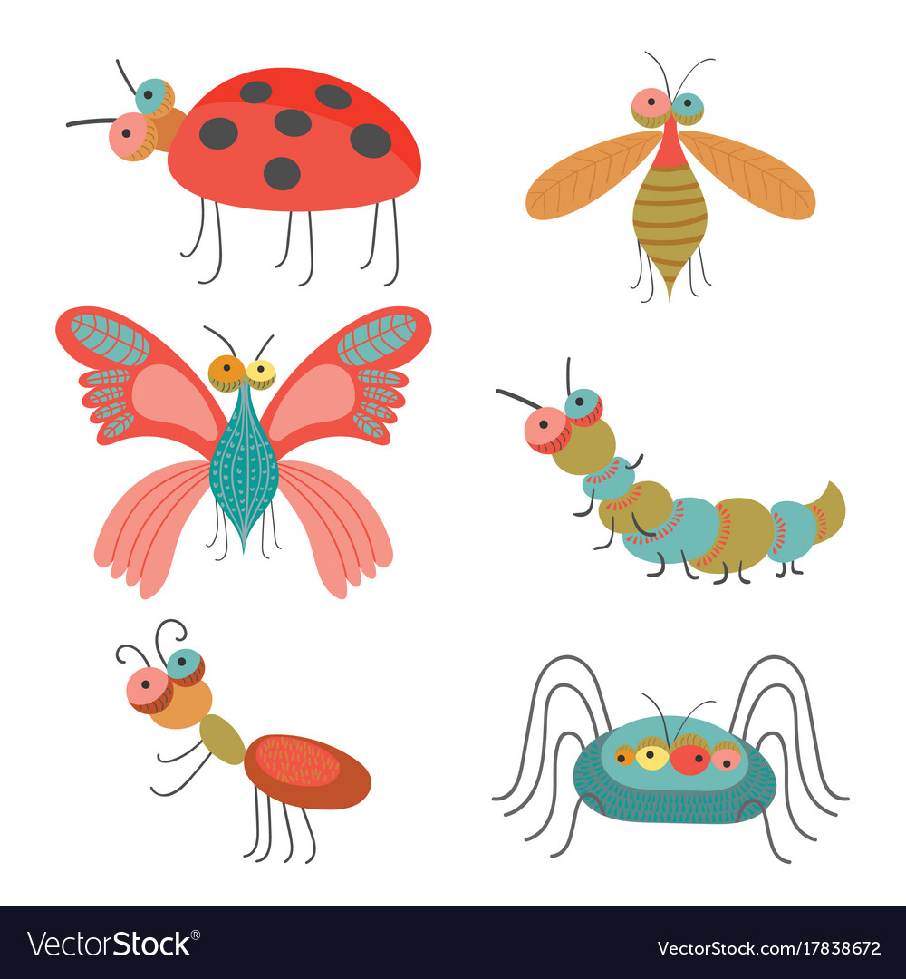 Set of funny colorful bugs on