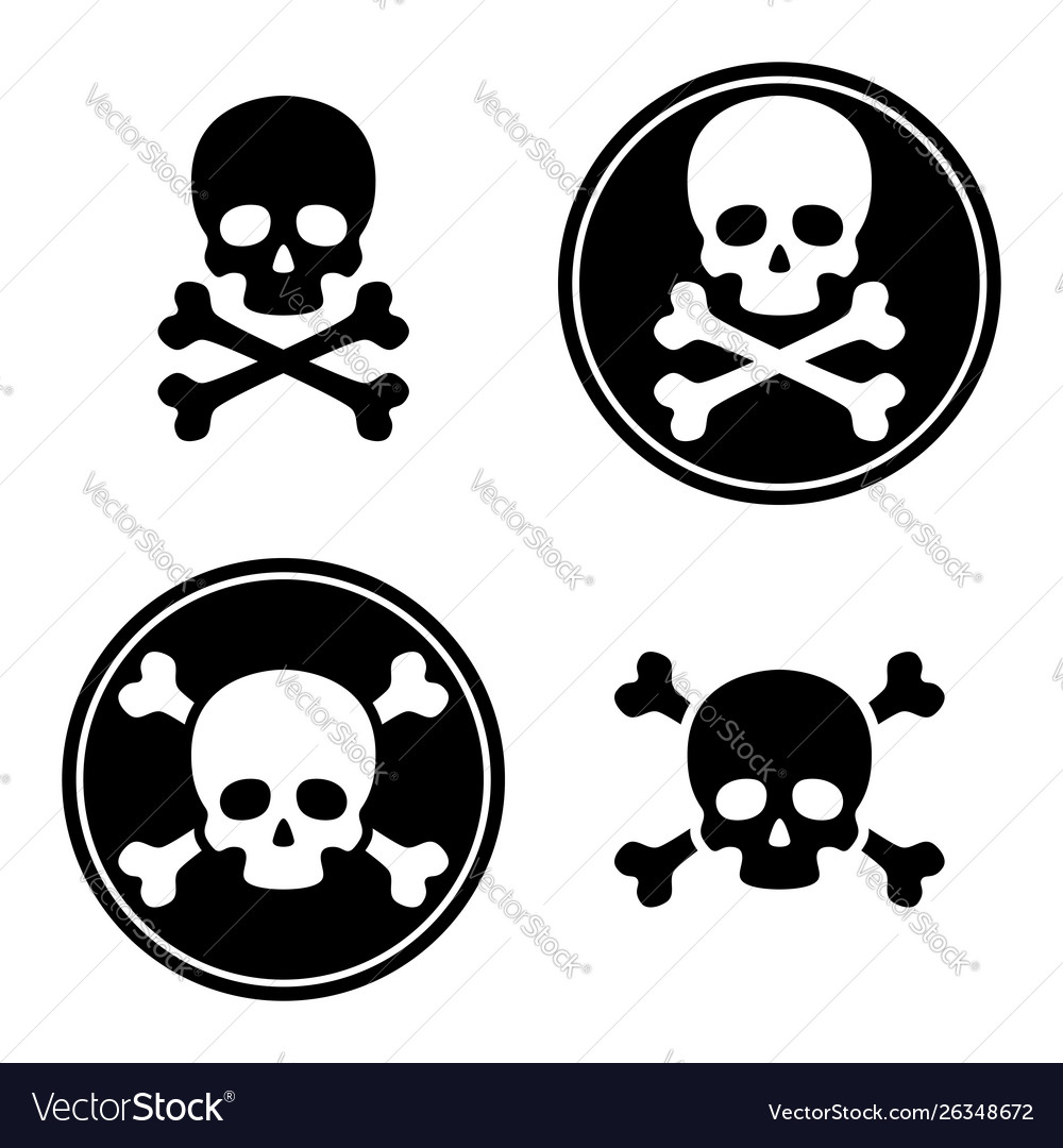 Skull and crossbones icon set