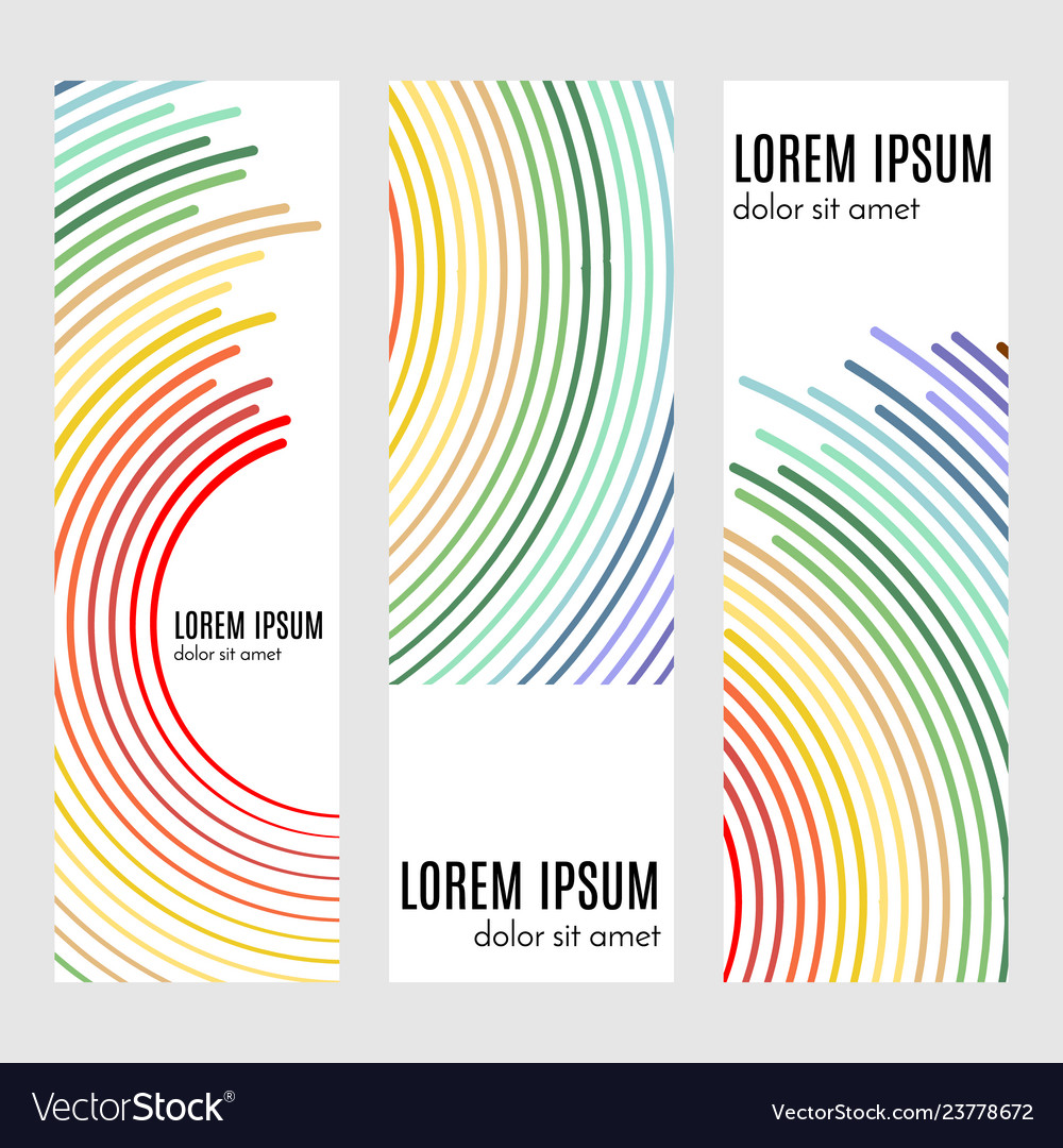 Vertical header banners with curved lines