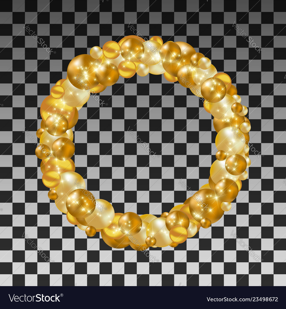Wreath of golden balls on a transparent background