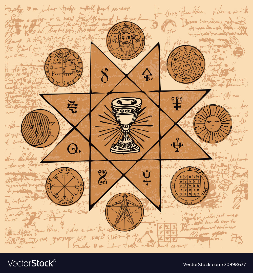 Banner With Grail And Esoteric Masonic Symbols Vector Image