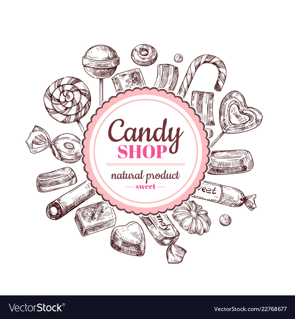 Candy shop background sketch chocolate candy