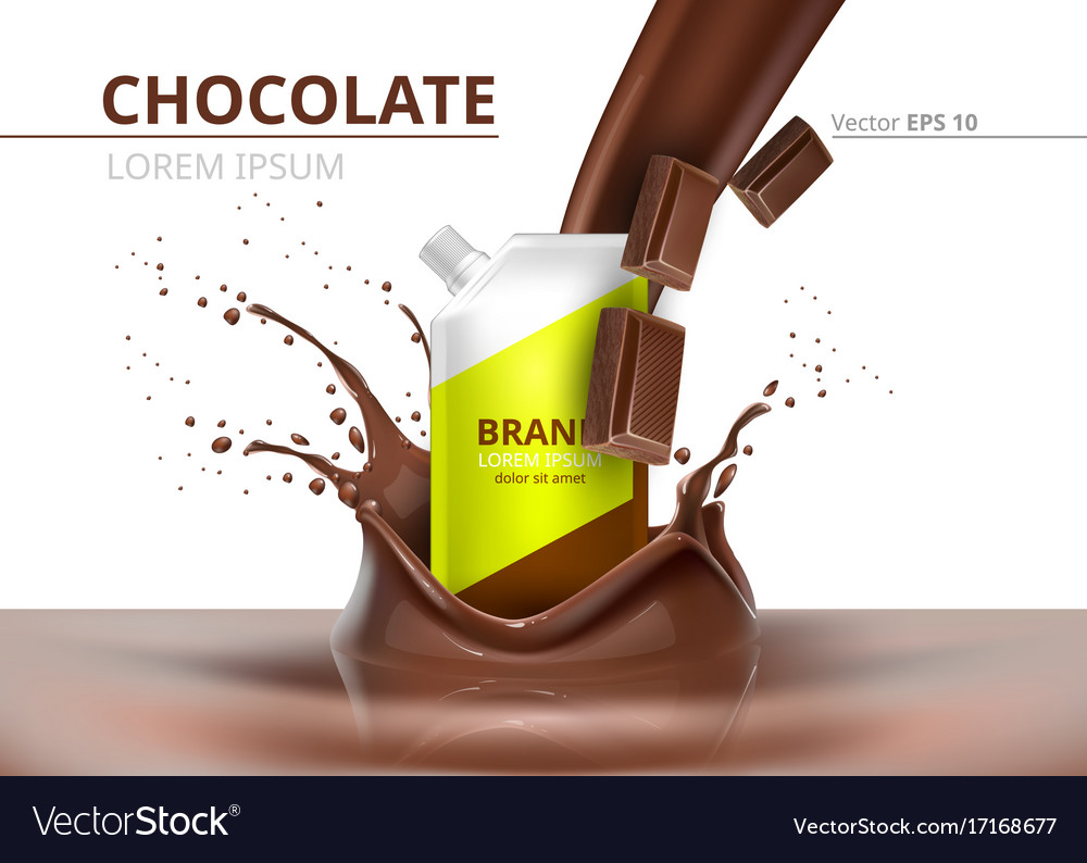 Chocolate package mock up realistic on vector image