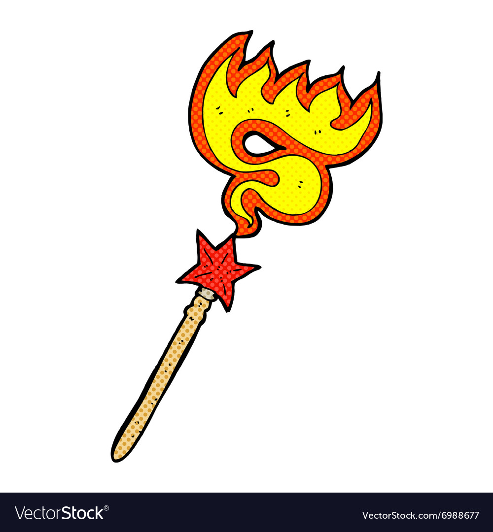 Comic cartoon magic wand casting fire spell vector image