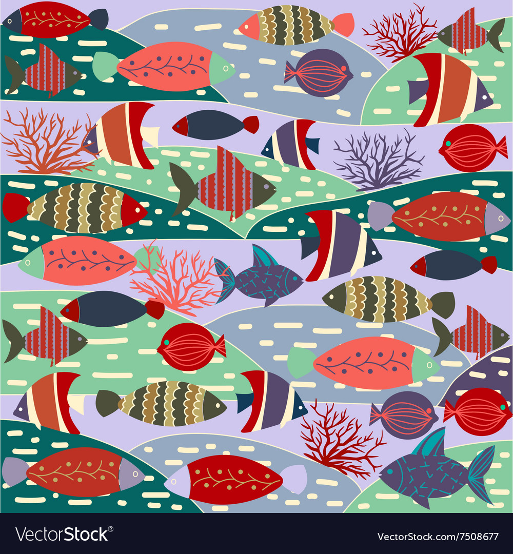 Decorative with colorful cute fishes vector image