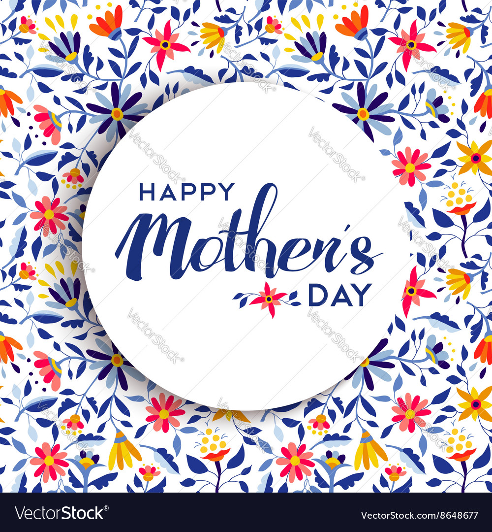 Happy mothers day floral background poster design