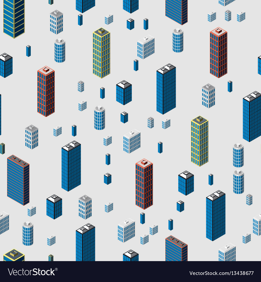 Isometric buildings seamless pattern