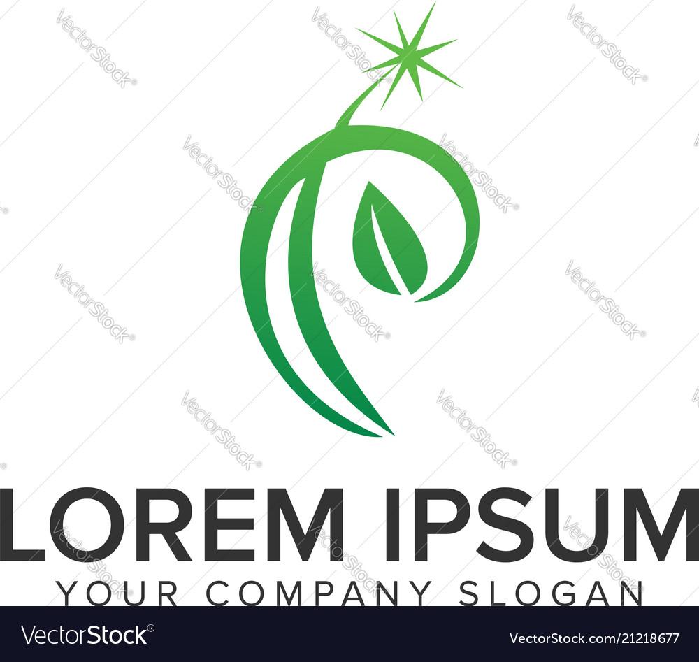 Letter p leaf logo design concept template