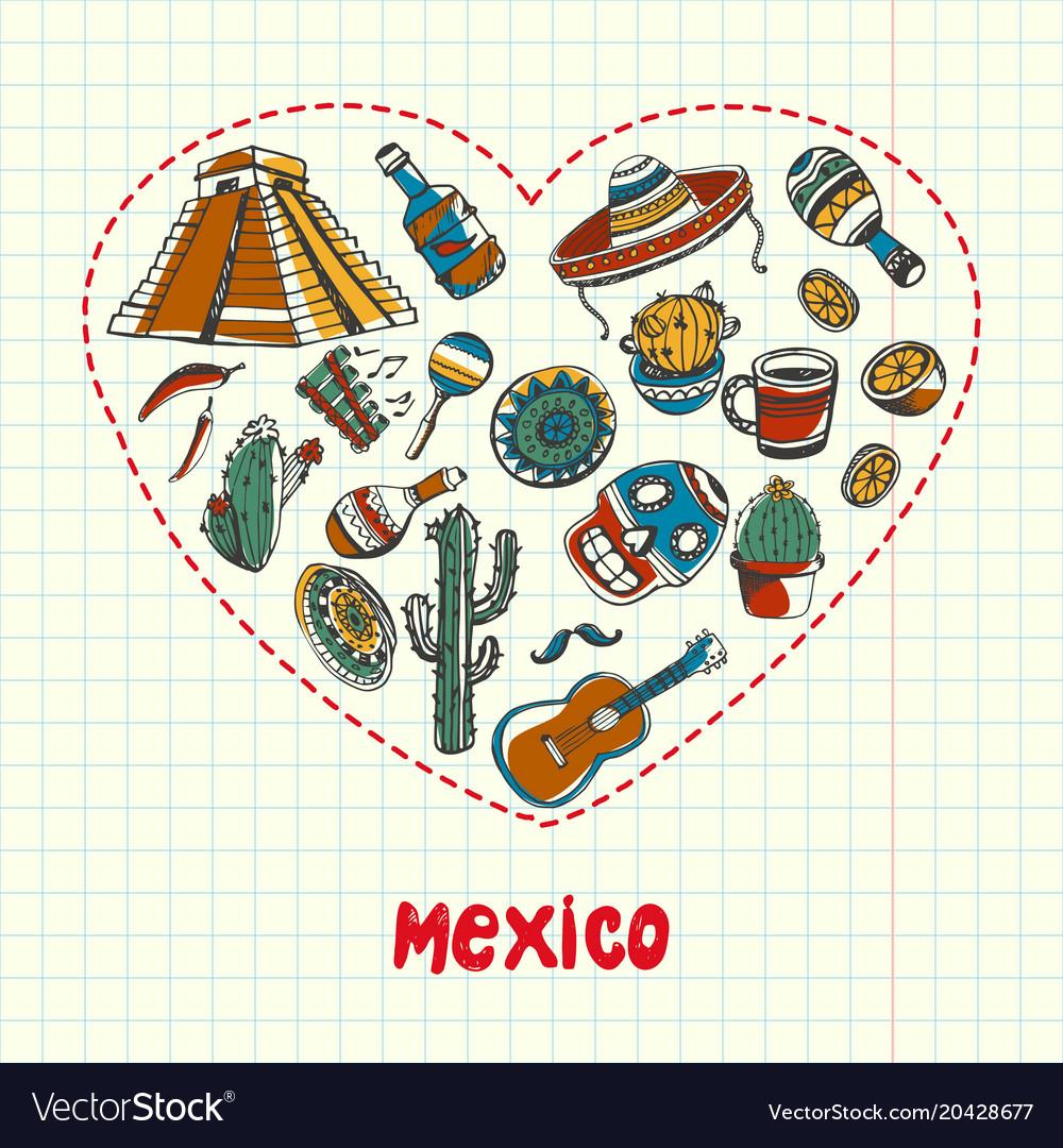Mexico pen drawn doodles collection
