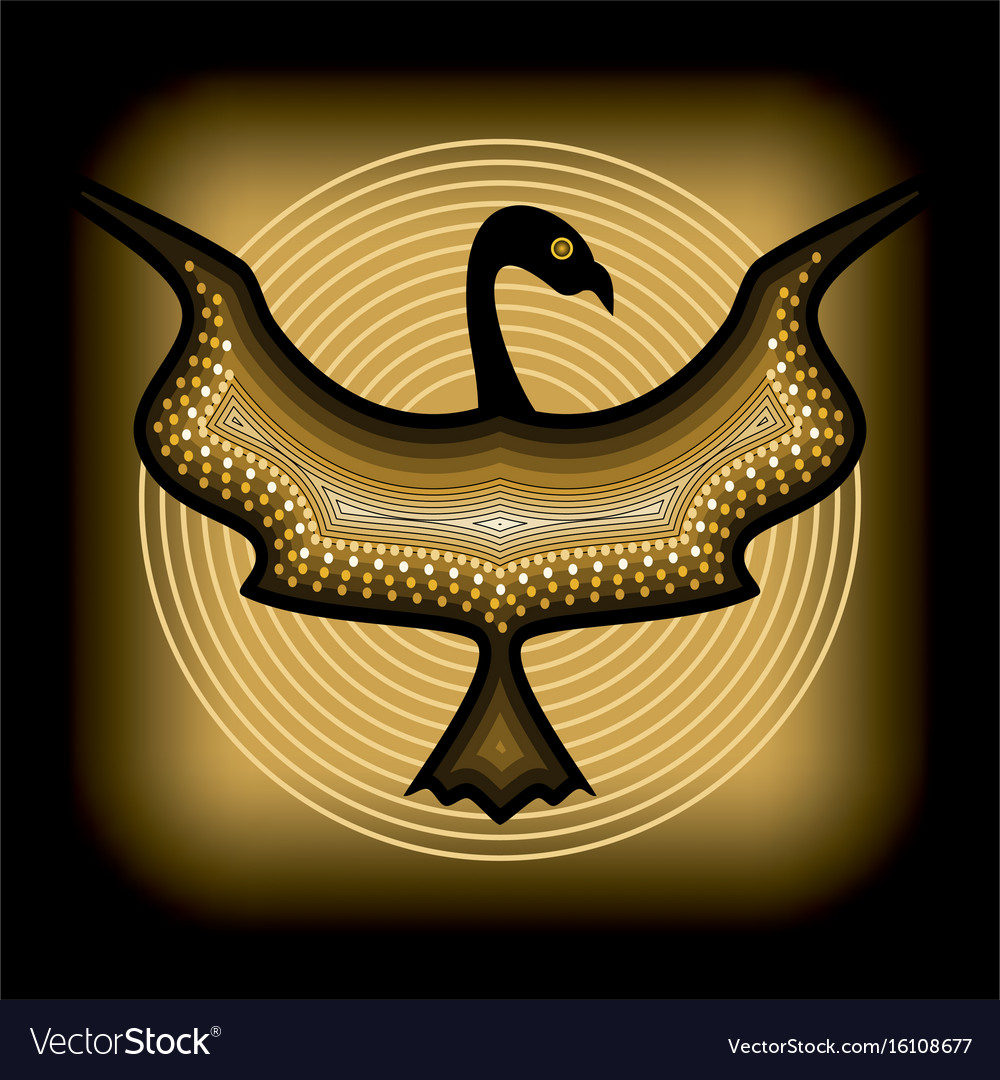 Mythologic ornamental bird silhouette tribal vector image