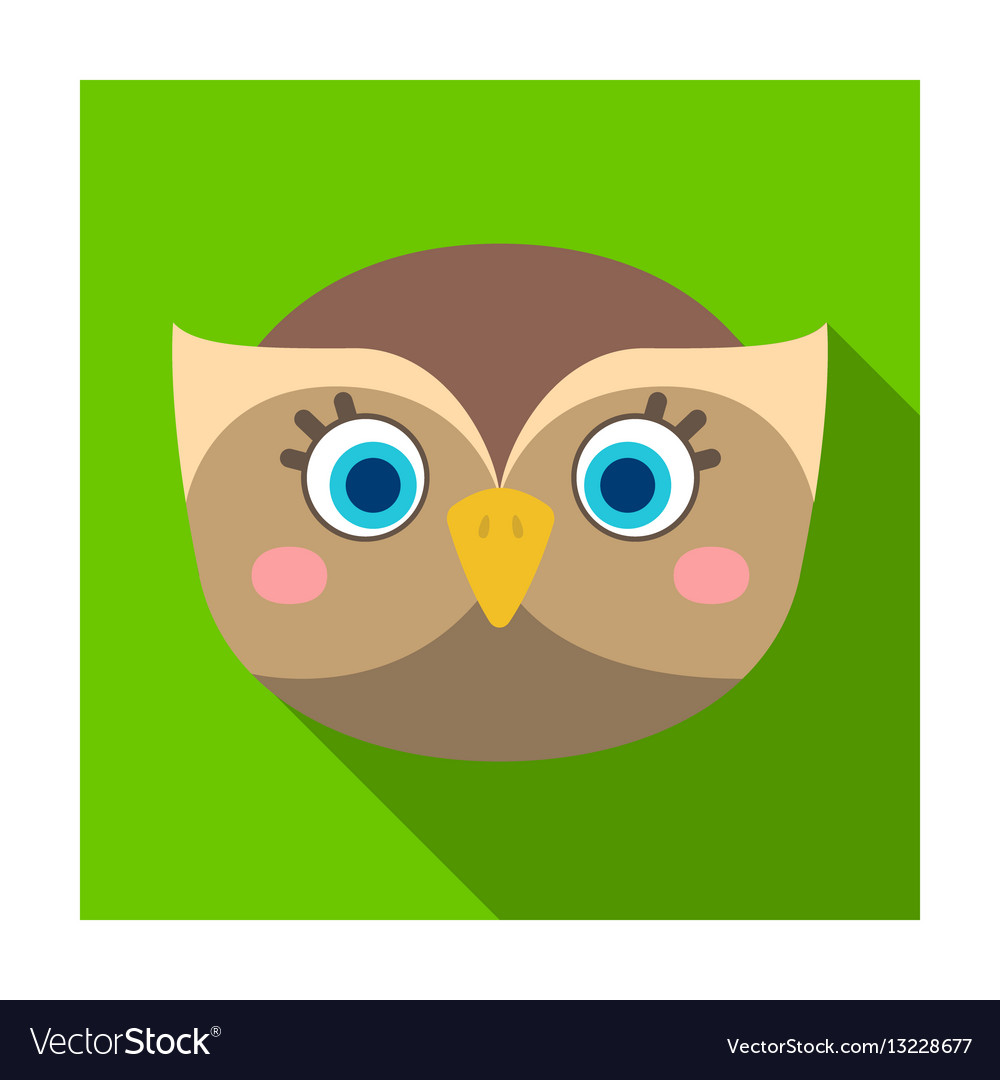 Owl muzzle icon in flat style isolated on white