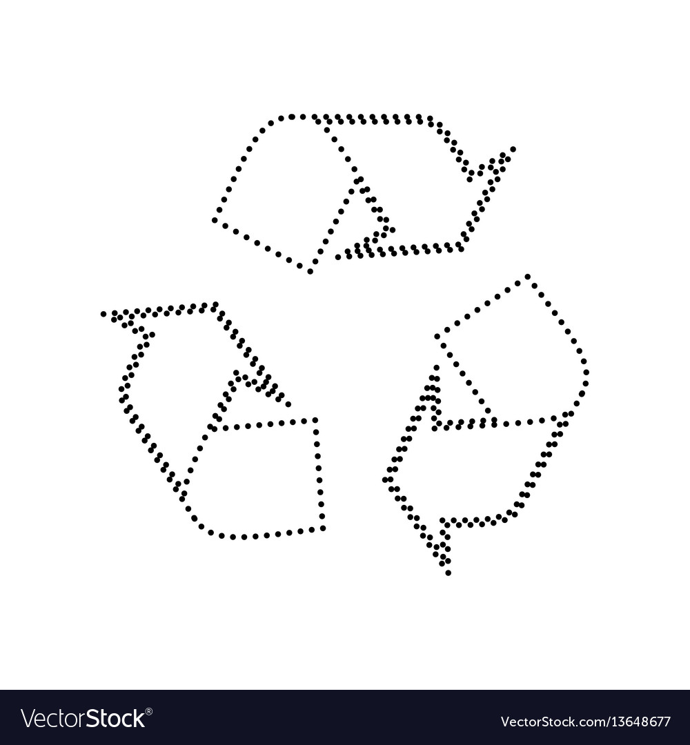 Recycle logo concept black dotted icon on