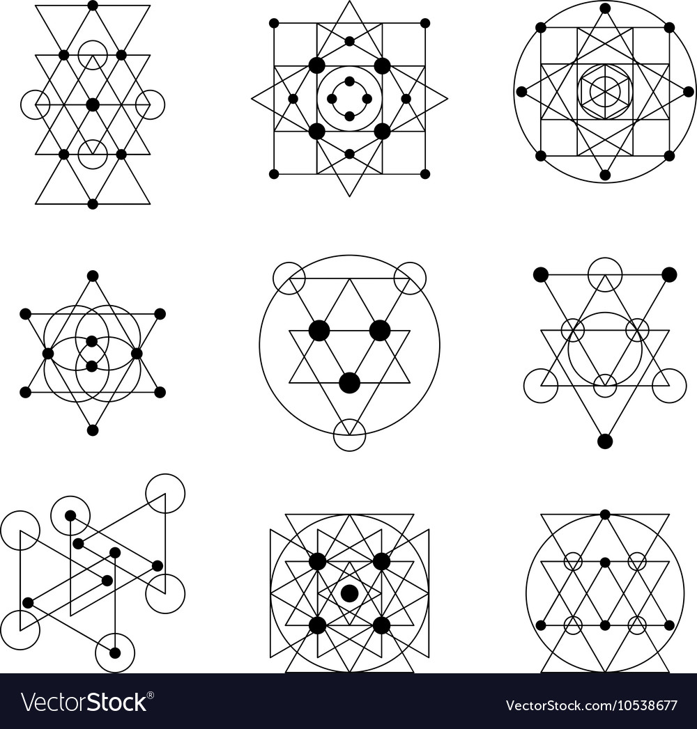 Sacred geometry elements vector image