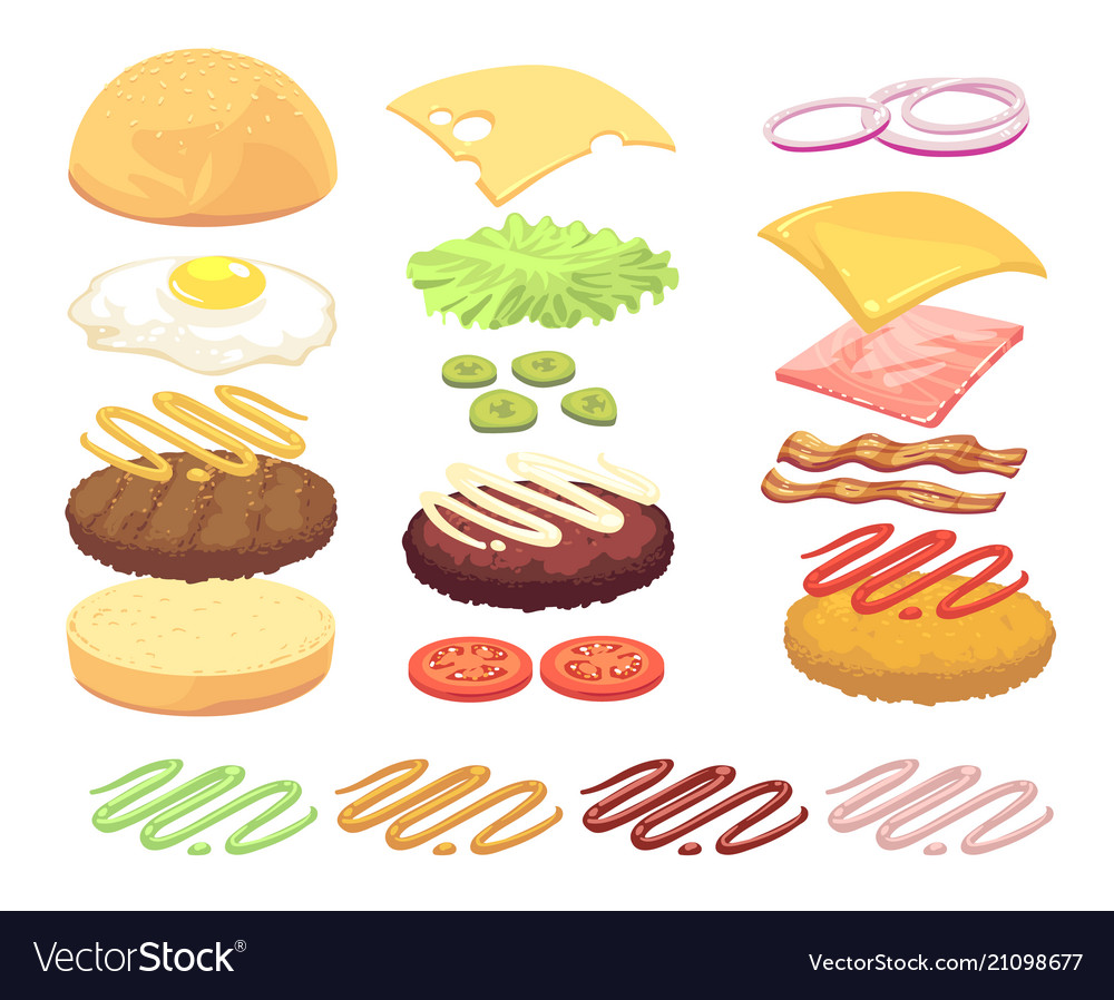 Sandwich and burger food ingredients cartoon