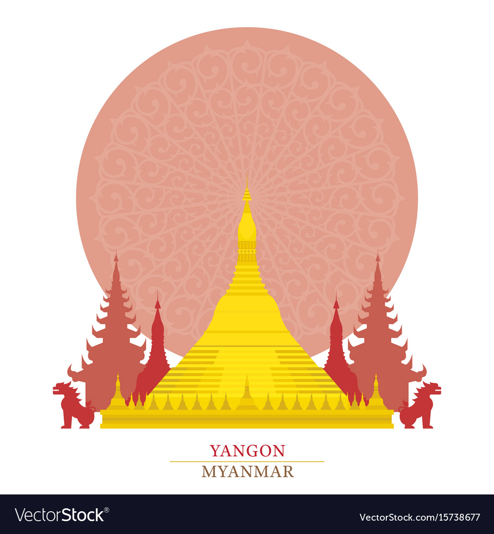 Shwedagon yangon myanmar with decoration vector image