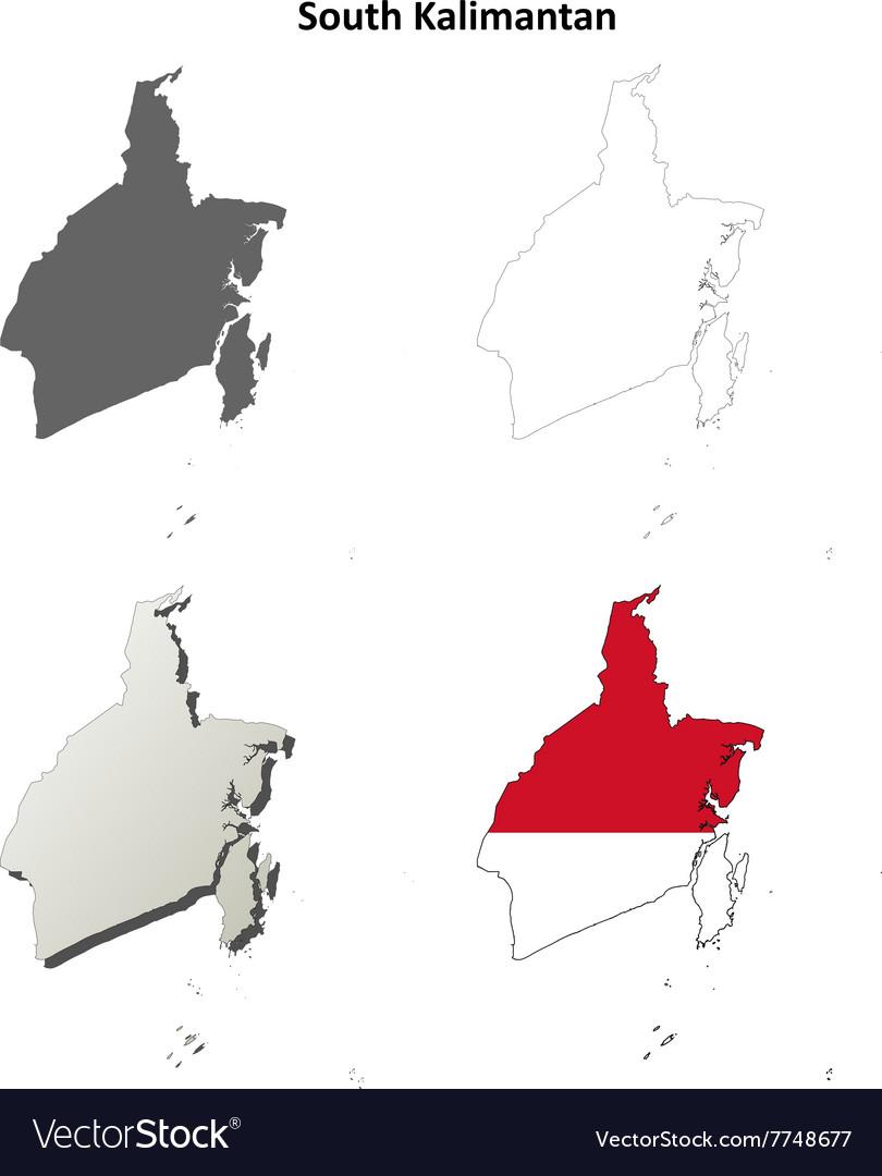 South Kalimantan blank outline map set vector image