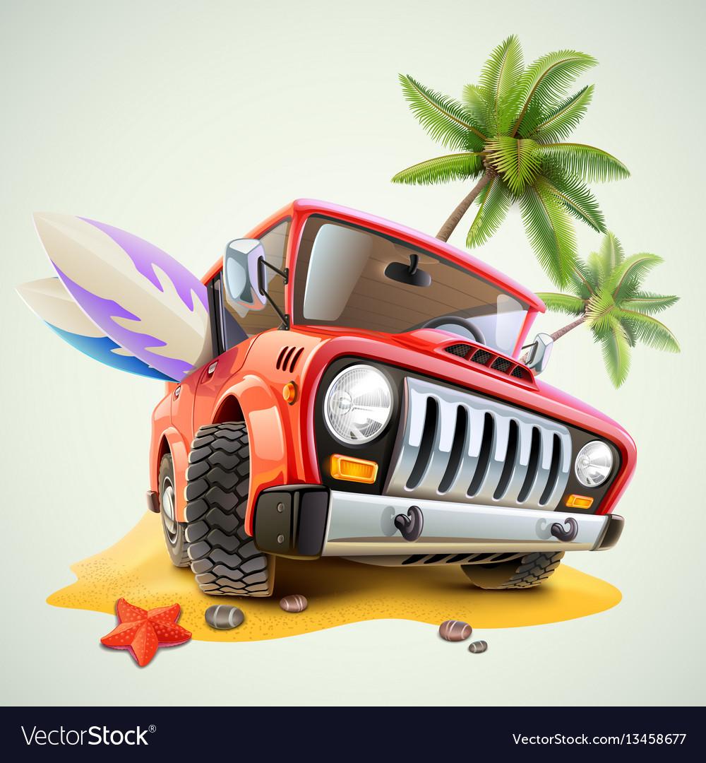 Summer jeep car on beach with palm