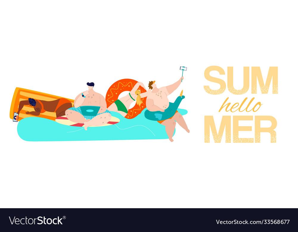 Summer rest hello inscription on banner