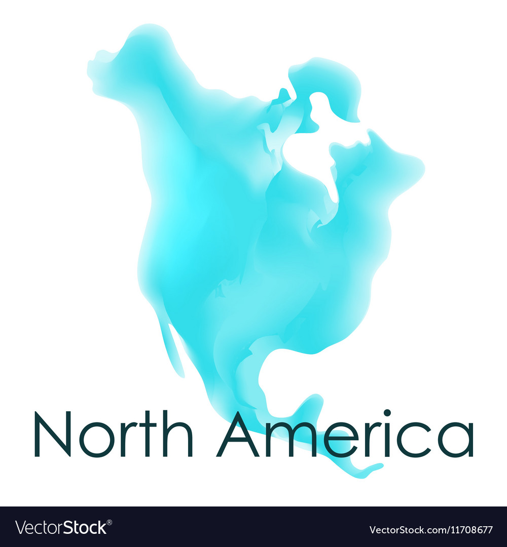 Watercolor map north america on a white