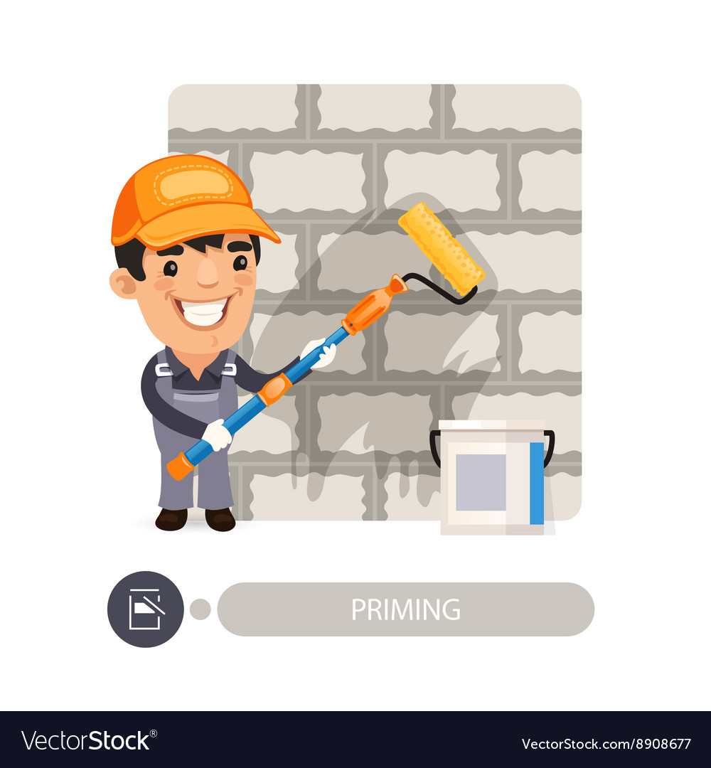 Worker Priming Wall vector image