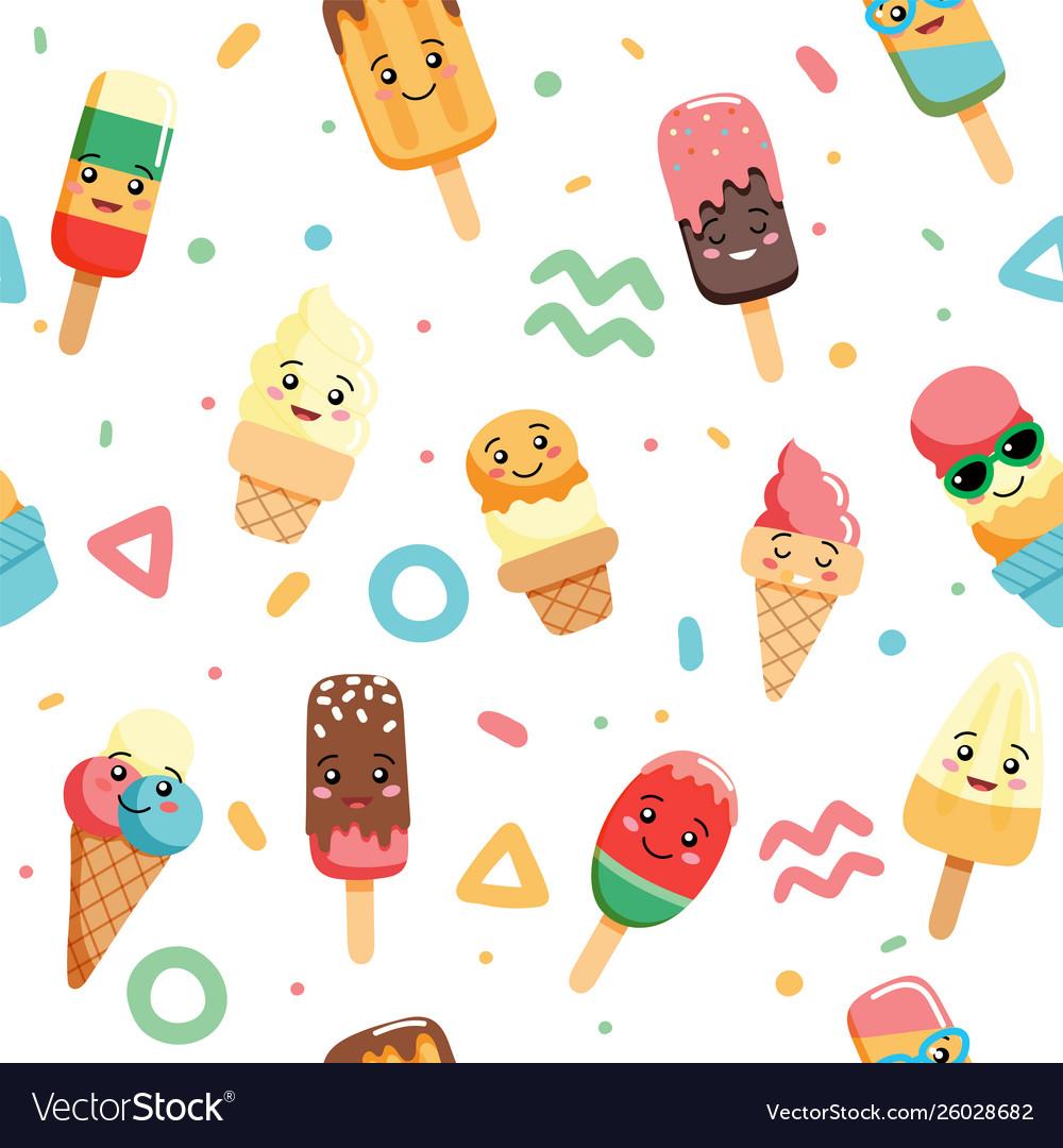 Cute kawaii ice cream seamless pattern with