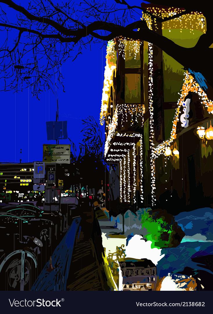 Digital painting of nightly city evening Kyiv Ukra