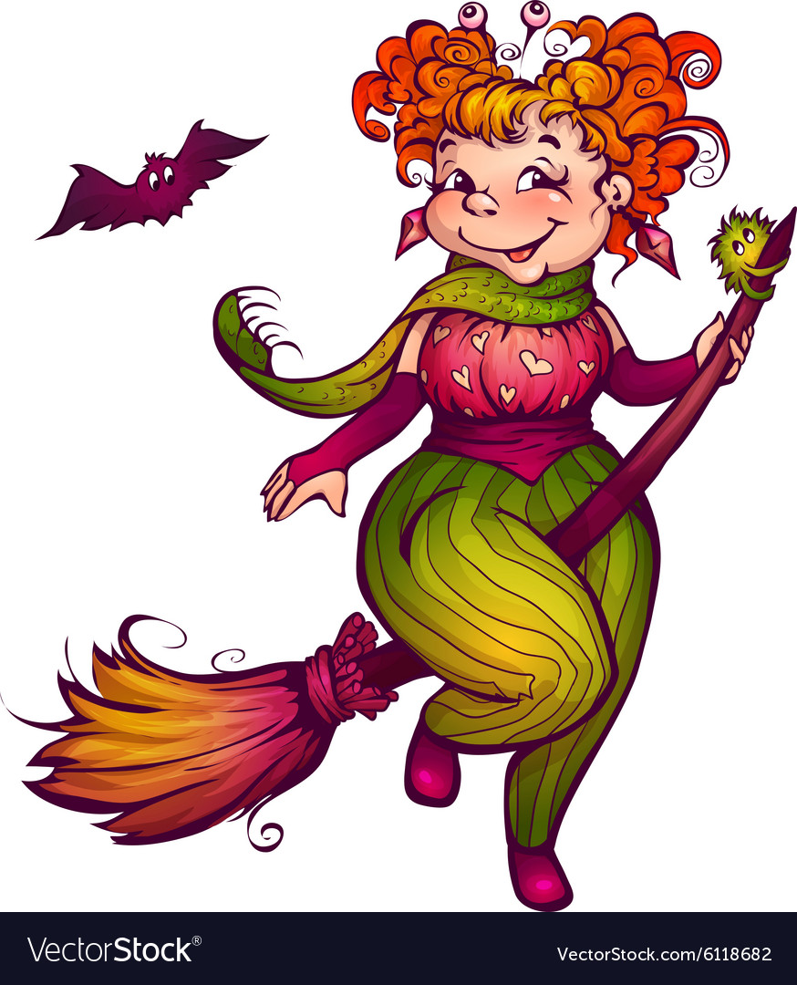 Halloween witch with bat flying to party