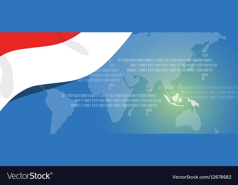Indonesia world map technology style digital